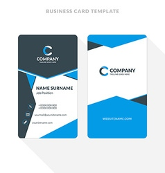 Vertical Double-sided Business Card Template Blue vector image vector image