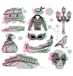 watercolor set of venice sketch with paint drops vector image vector image