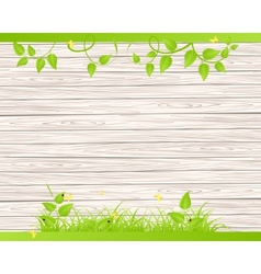 Wood fence with grass vector