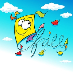 yellow kite flying on blue sky - vector image