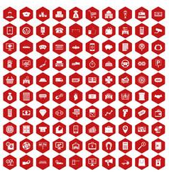 100 coin icons hexagon red vector