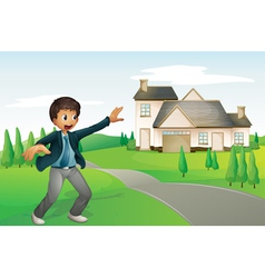 A boy and a house vector