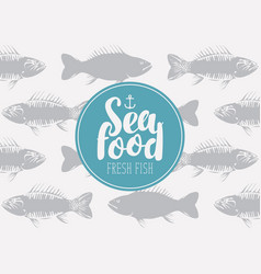 Banner for seafood with inscription and seamless vector
