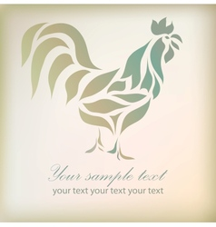 Vintage floral rooster on background vector