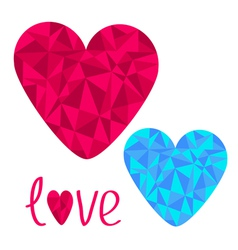 Blue and pink hearts polygonal effect love card vector