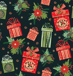 Merry christmas gifts seamless pattern vector