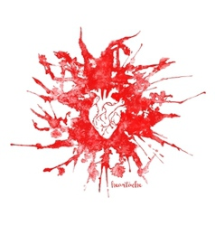 Watercolor heart in red splash vector