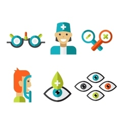 Optical icons ophthalmology set vector