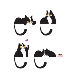 Black and white domestic cat in four positions vector