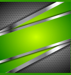 Abstract green background with metallic design vector image