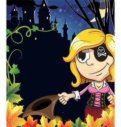 Pirate girl near the castle vector