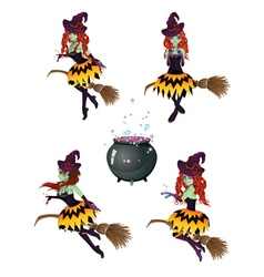 Dark witch with broom4 vector