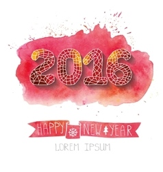 New yearpolygons figuresribbonwatercolor red vector