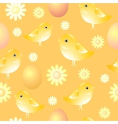 Seamless pattern with chicks eggs and flowers vector