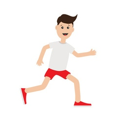 Funny cartoon running guy cute run boy jogging man vector
