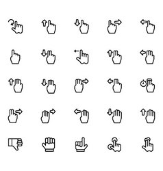 Hand gesture line icons 3 vector