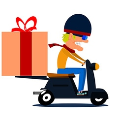 Cartoon moped driver with cargo vector