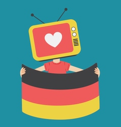 Cartoon television holding a german flag vector