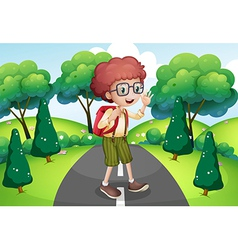 A young traveller with a backpack standing in the vector image vector image