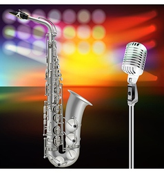 abstract background with saxophone and microphone vector image vector image