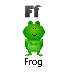 Alphabet F with frog vector image