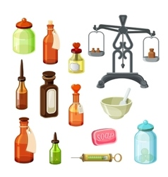 Apothecary set Vintage medicine bottles vector image