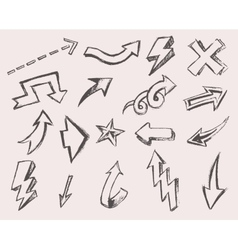 Arrows Set Hand Drawn Sketched Design vector image