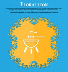 Barbecue icon sign floral flat design on a blue vector