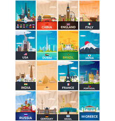 Big collection of travel posters to country vecor vector