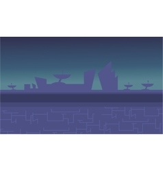 Blue backgrounds alien spacecraft for game vector image