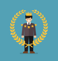 Businessman with golden wreath vector