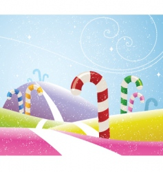 candy canes landscape vector image vector image