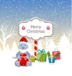 christmas rabbit with present boxes santa bag vector image