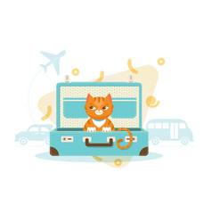 Colorful travel with pets concept vector