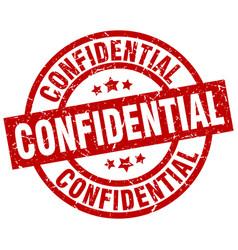 Confidential round red grunge stamp vector