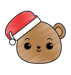 cute bear teddy head kawaii character vector image