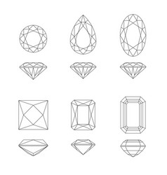 diamond and gemstone shapes vector image vector image