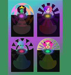 enchantress - princess collection cards vector image