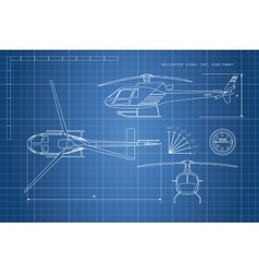 Engineering drawing helicopter vector image vector image