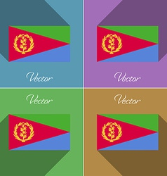 Flags Eritrea Set of colors flat design and long vector image