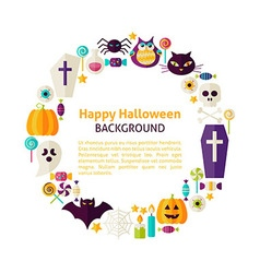 Flat Style Circle Template Collection of Halloween vector image vector image