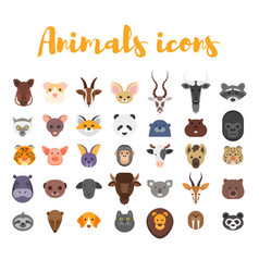 Flat style set of animal web icons vector