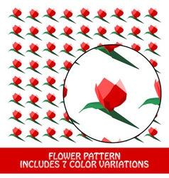 flower pattern includes 7 color variations vector image