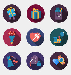 Gift flat shop icons vector