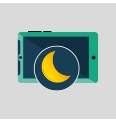 Green smartphone weather moon icon design vector