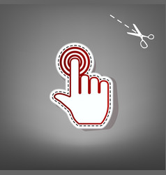 Hand click on button red icon with for vector