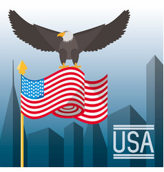 Nice eagle with american flag in the city vector