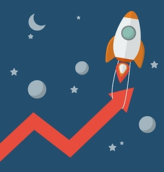 Rocket pull arrow graph up vector