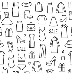 Seamless pattern of womens clothing and vector