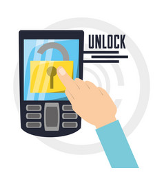 security cellphone with padlock app inside vector image vector image